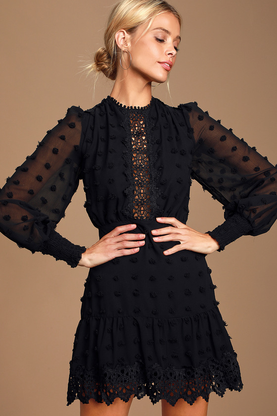 Lust or Love Black Embroidered Lace Long Sleeve Dress