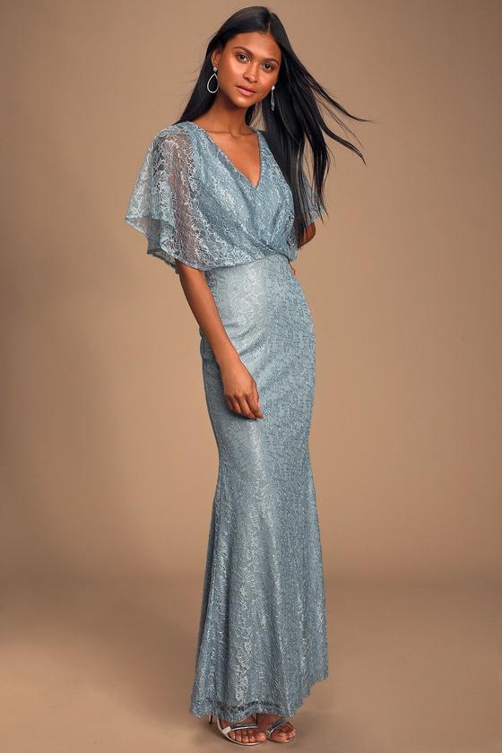 1960s – 70s Cocktail, Party, Prom, Evening Dresses Bliss Delight Light Blue Lace Flutter Sleeve Maxi Dress - Lulus $65.00 AT vintagedancer.com