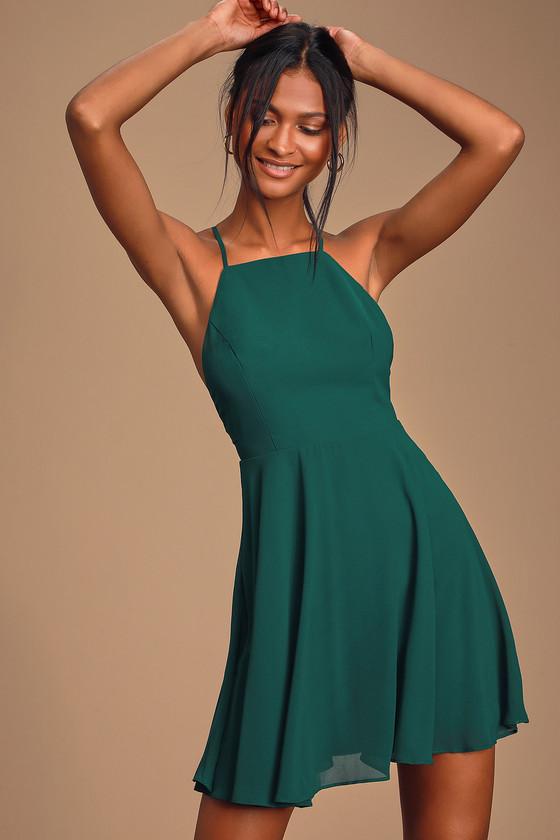 Letter of Love Emerald Green Backless Skater Dress