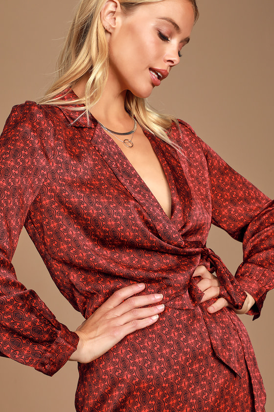 NICE TRY RED PAISLEY PRINT SATIN WRAP TOP - CLASSY FALL OUTFIT - FALL BLOUSE