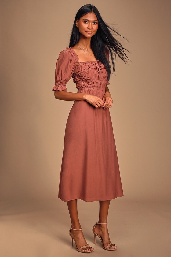 NAHANNI MAUVE PUFF SLEEVE SMOCKED MIDI DRESS