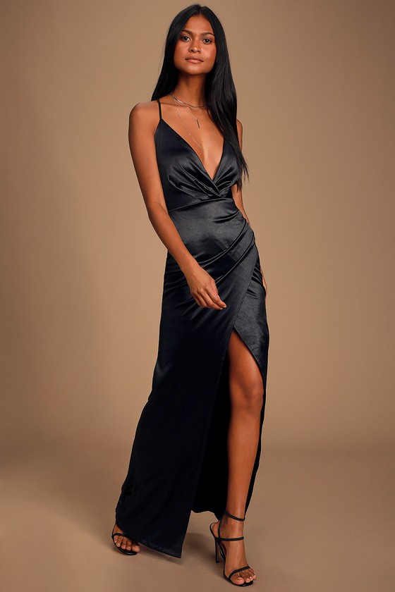 70s Dresses – Disco Dress, Hippie Dress, Wrap Dress Ever Enchanted Black Satin Surplice Maxi Dress - Lulus $68.00 AT vintagedancer.com