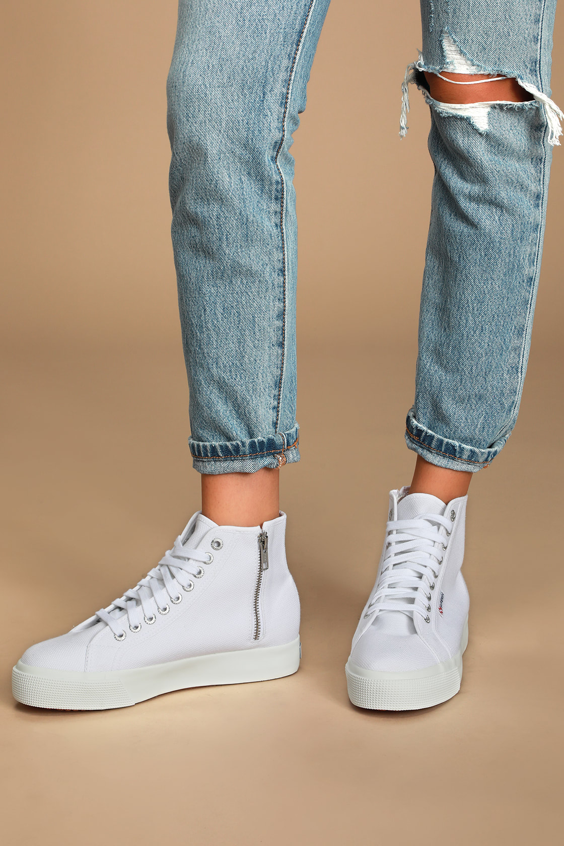2422 Cotw White High Top Platform Sneakers by Superga