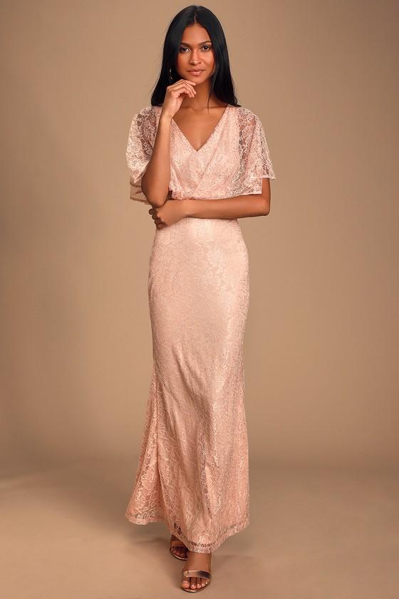 1960s – 70s Cocktail, Party, Prom, Evening Dresses Bliss Delight Blush Pink Lace Flutter Sleeve Maxi Dress - Lulus $65.00 AT vintagedancer.com