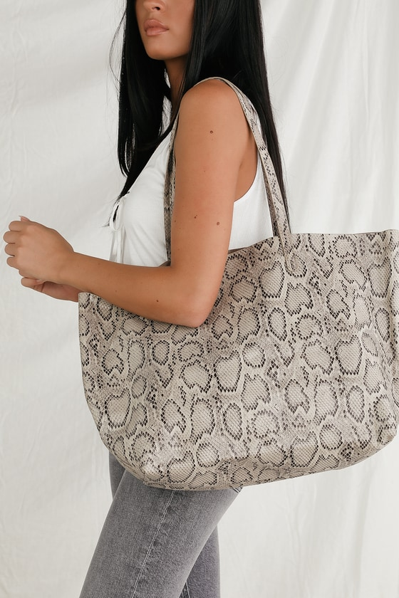 Maisha Beige Snake Embossed Tote Bag - Animal Print Fashion