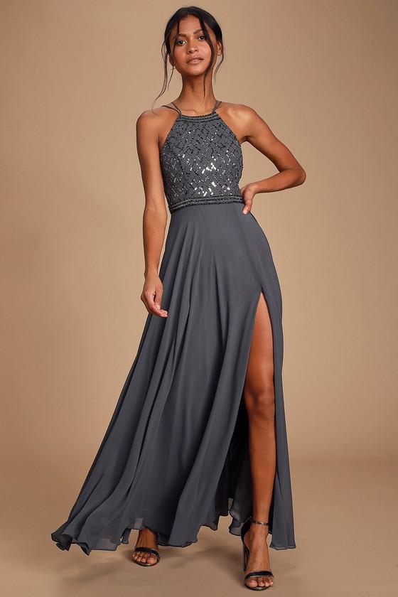 Lovely Charcoal Grey Dress Maxi Dress Sequin Dress Gown
