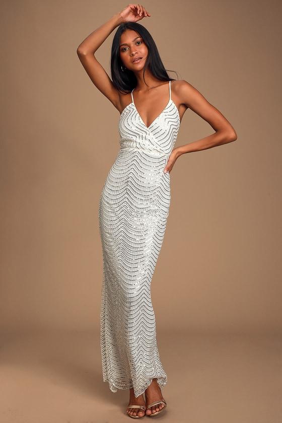 1960s – 70s Cocktail, Party, Prom, Evening Dresses Yolanda White Sequin Sleeveless Maxi Dress - Lulus $104.00 AT vintagedancer.com