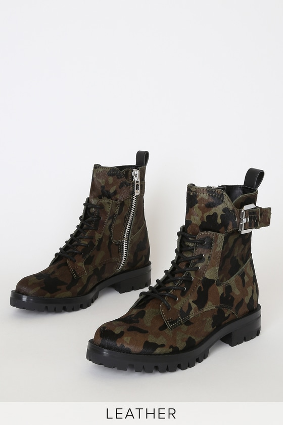hot sale online 8df64 9e30b Paxtyn Camo Calf Hair Lace-Up Boots