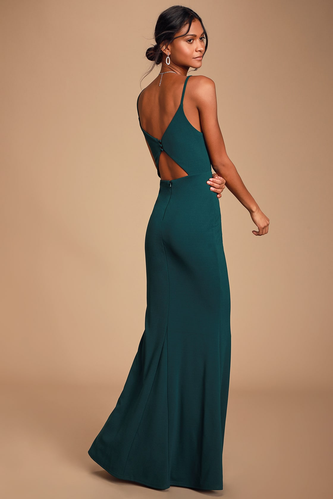 Moments Of Bliss Forest Green Backless Mermaid Maxi Dress