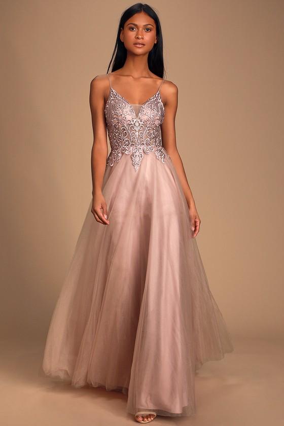 Mauve Pink Dress - Embroidered Dress - Rhinestone Dress - Maxi
