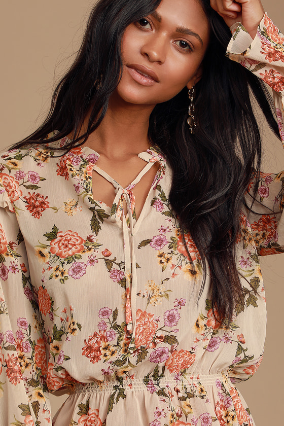 BE TENDER BEIGE FLORAL RUFFLED LONG SLEEVE TOP - PRETTY FALL OUTFIT