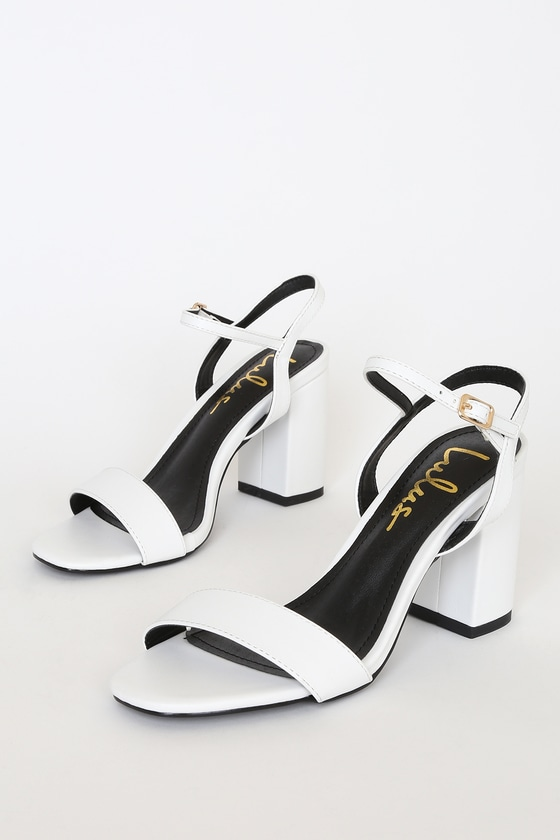Lulus Exclusive! Dress them up or down, the Lulus Arya White High Heel Sandals can do it all! Sleek vegan leather shapes a peep-toe upper and a slender quarter strap with gold buckle. 3. 5\