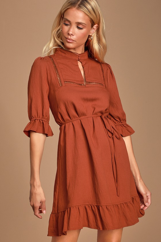 DEAREST LOVE RUST BROWN MOCK NECK RUFFLED MINI DRESS - CLASSY FALL OUTFIT