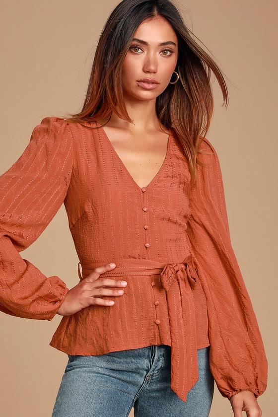MEILANI RUST ORANGE LONG SLEEVE BUTTON-FRONT TOP - CLASSY FALL OUTFIT