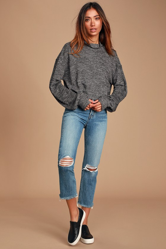 Amila Heather Charcoal Grey Turtleneck Sweater Top