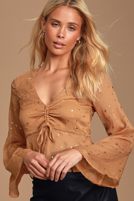 ALIZON GOLD AND TAN SHEER STAR PRINT CHIFFON LONG SLEEVE TOP