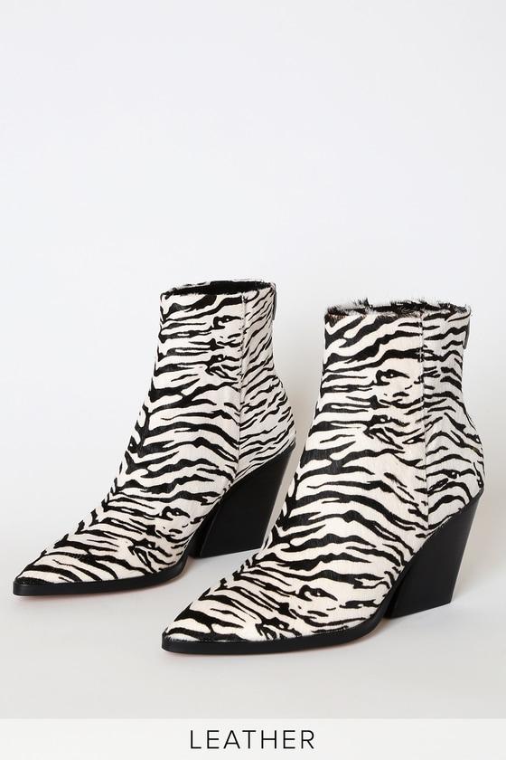 Issa Zebra Calf Hair Pointed-Toe Booties