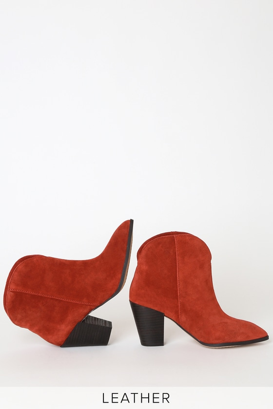 Paisley Spice Red Suede Leather Pointed-Toe Ankle Booties - Lulus
