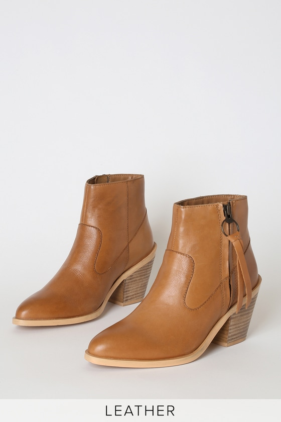 Marianna Tan Leather Pointed-Toe Ankle Booties