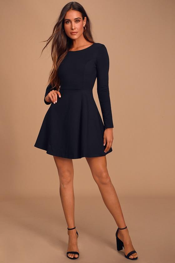 Cute Black Dress - Long Sleeve Dress - Skater Dress