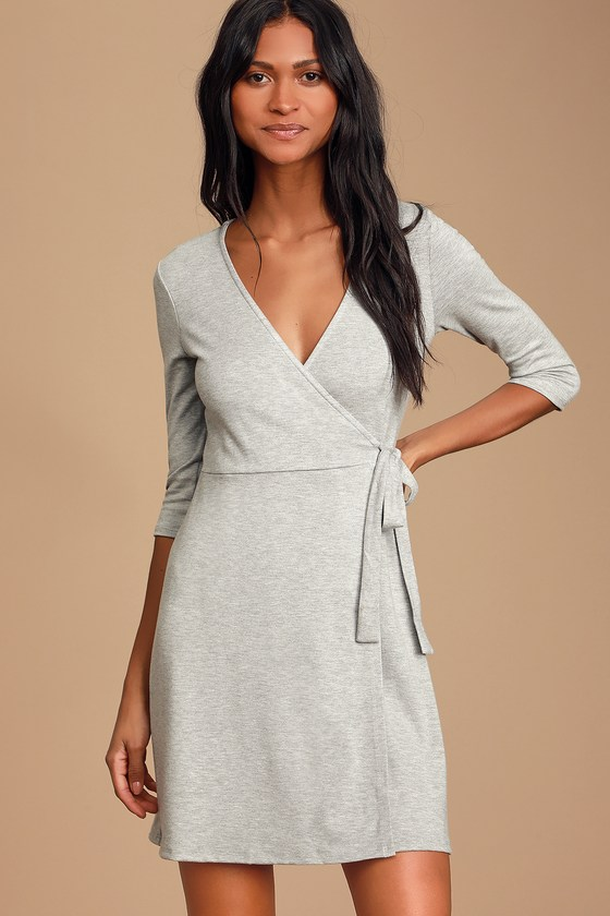 All At Once Light Grey Three-Quarter Sleeve Wrap Dress - Lulus