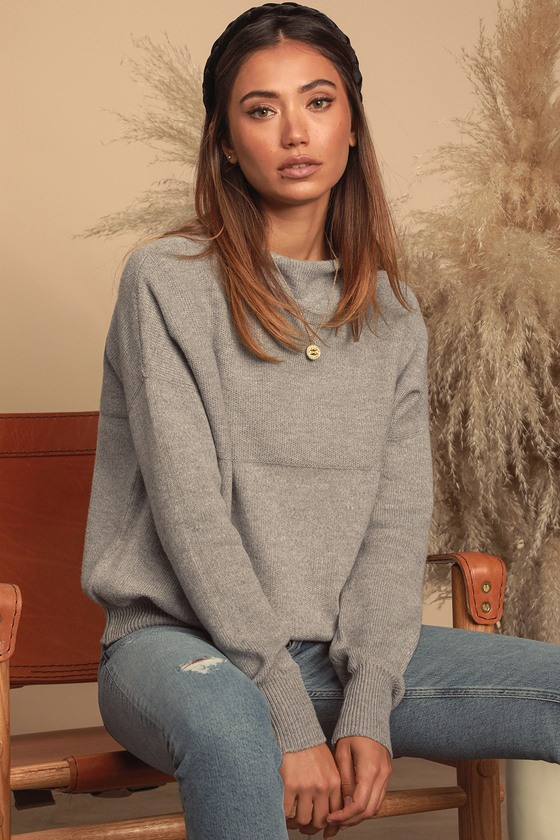 Get With It Grey Mock Neck Knit Sweater