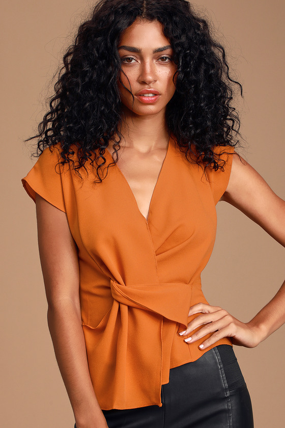 CARIANA RUST ORANGE TWIST-FRONT SURPLICE TOP - CASUAL FALL OUTFIT