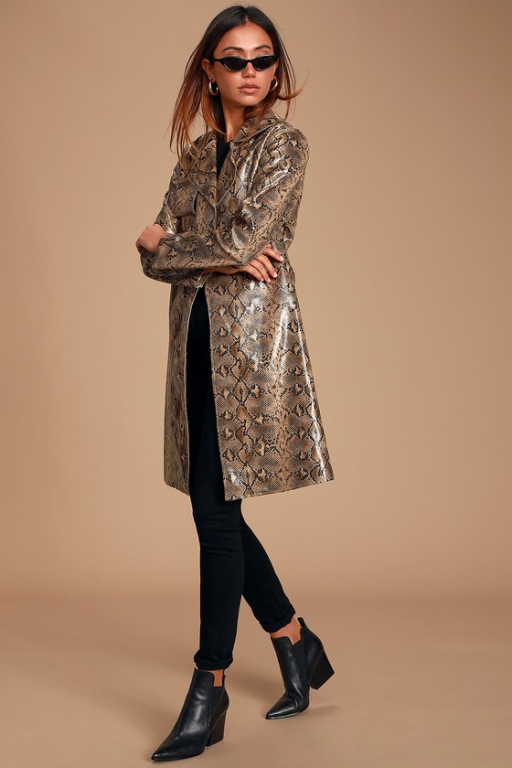 ANACONDUH BEIGE SNAKE PRINT VEGAN LEATHER TRENCH COAT - CLASSY FALL OUTFITS