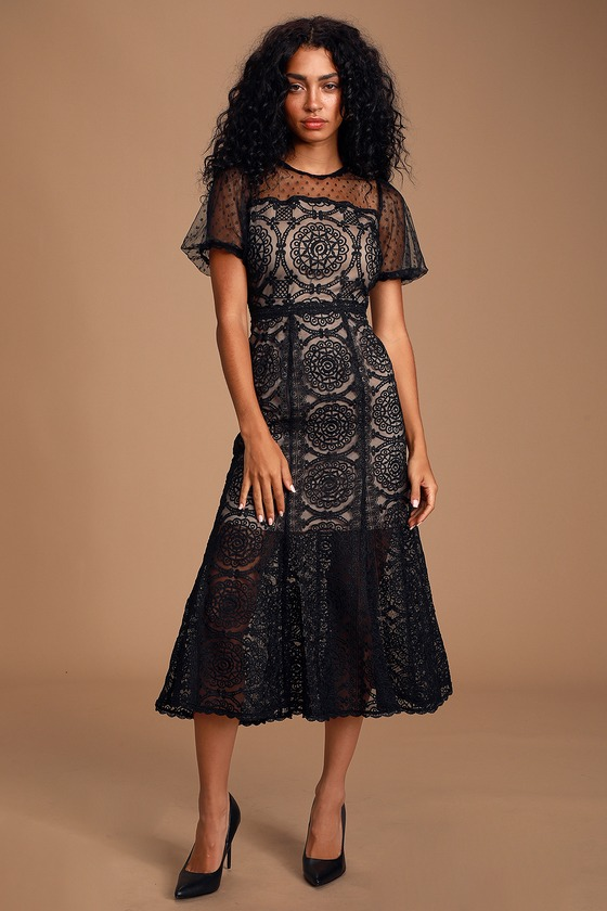 Ellington Black Embroidered Lace Midi Dress