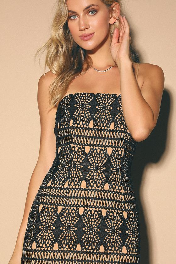 Adara Black Crochet Lace Mini Dress - Lulus