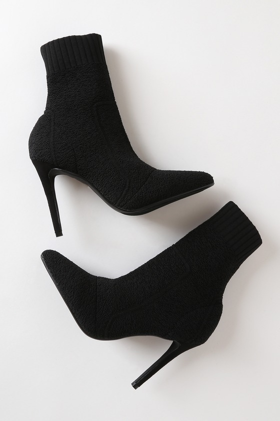 Magely Black Knit Mid-Calf High Heel Sock Boots