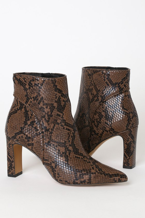 Jenn Brown Multi Snake Pointed-Toe Ankle Booties