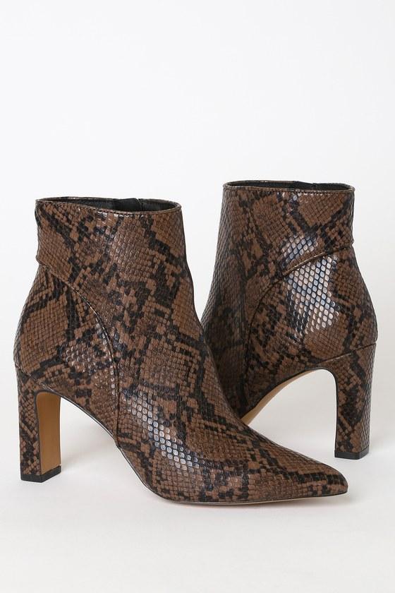 Jenn Brown Multi Snake Pointed-Toe Ankle Booties - Lulus