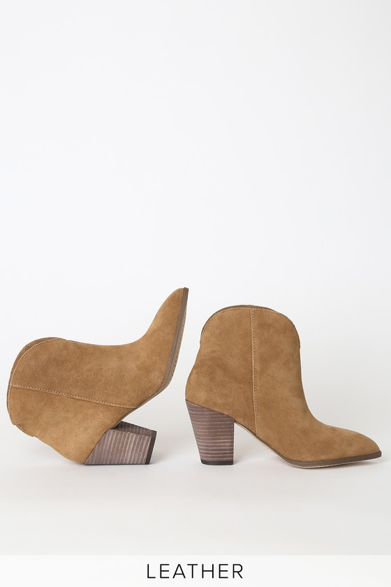 Paisley Light Brown Suede Leather Pointed-Toe Ankle Booties