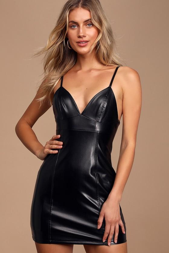 Winter vegan leather bodycon dress mini ever