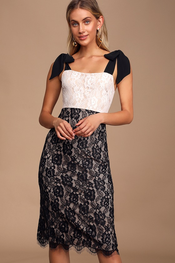 Tiffani Black and White Lace Colorblock Midi Dress - Trendy Outfits