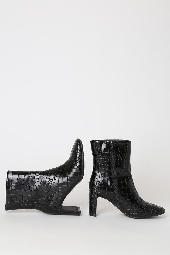 Believable Black Crocodile Embossed Square-Toe Booties