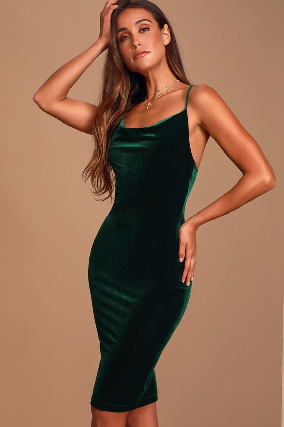 Dark Green Velvet Dress Velvet Bodycon Dress Midi Dress