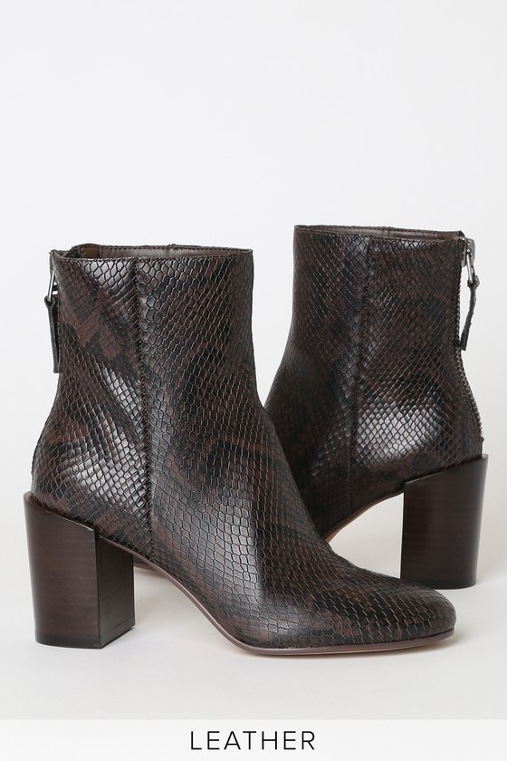 Cyan Espresso Snake Print Leather Ankle Booties