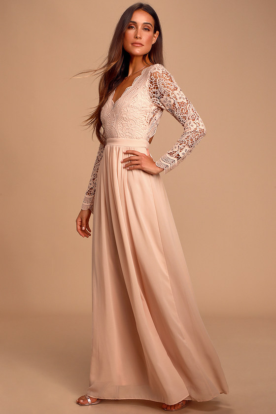 Vintage Evening Dresses Awaken My Love Blush Pink Long Sleeve Lace Maxi Dress - Lulus $86.00 AT vintagedancer.com