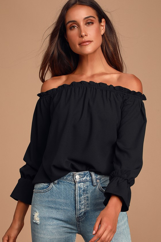 All in Good Fun Black Off the Shoulder Top