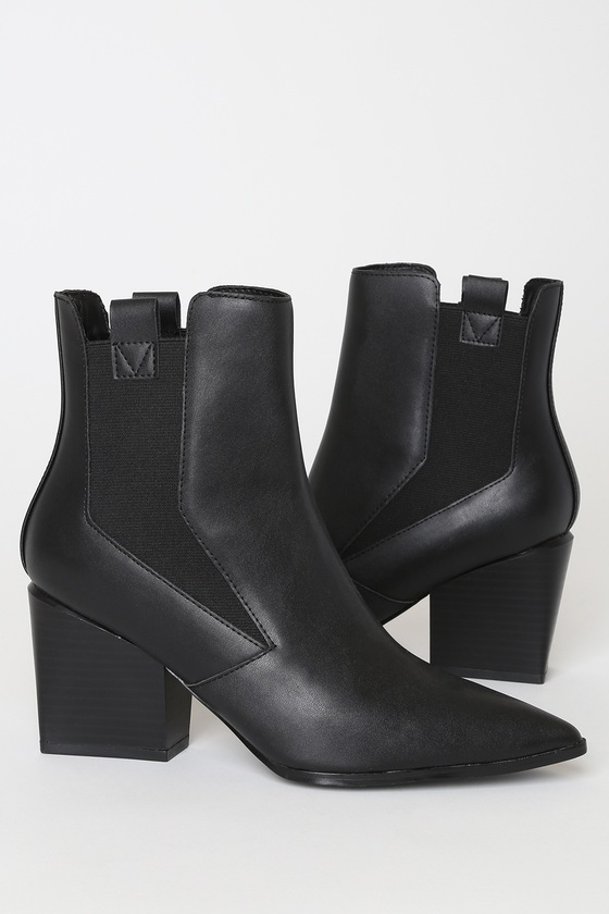 Finigan Black Pointed-Toe Ankle Booties