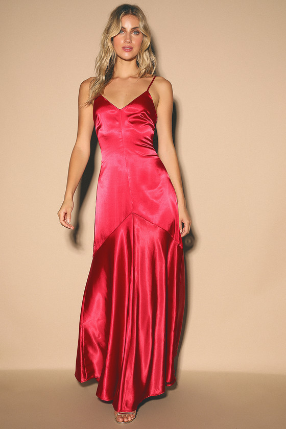 70s Prom, Formal, Evening, Party Dresses Buena Wine Red Satin Sleeveless Maxi Dress - Lulus $70.00 AT vintagedancer.com