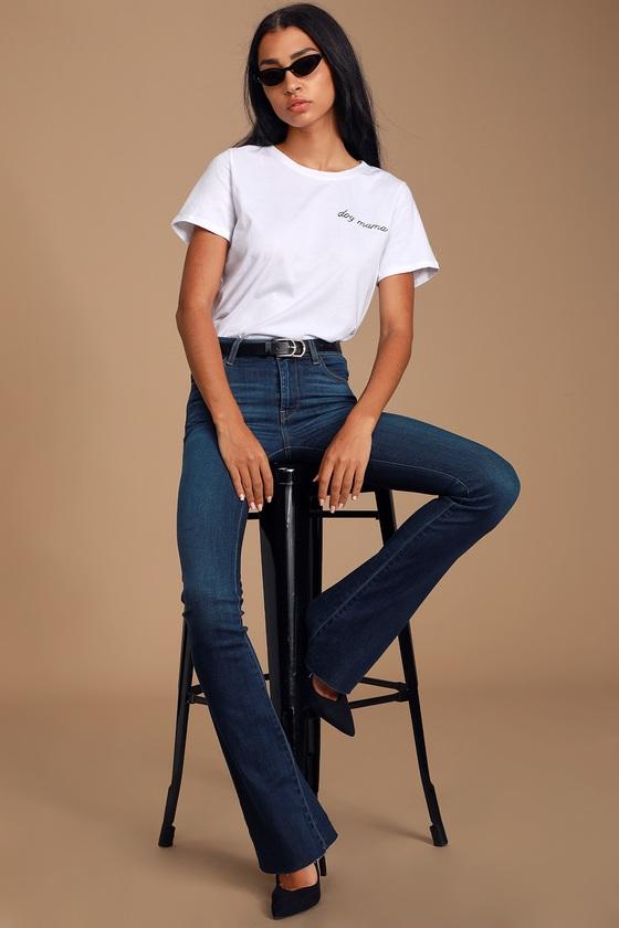 Keyton Dark Wash Mid-Rise Flare Jeans - Lulus