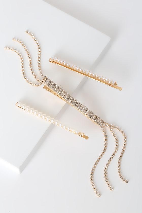 Marianne Gold Rhinestone and Pearl Hair Pin Set