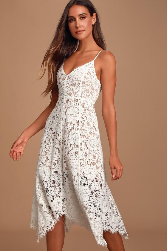 One Wish White Lace Midi Dress