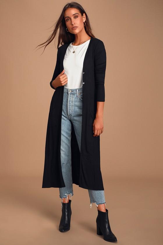 Graceful Ways Black Long Cardigan Sweater