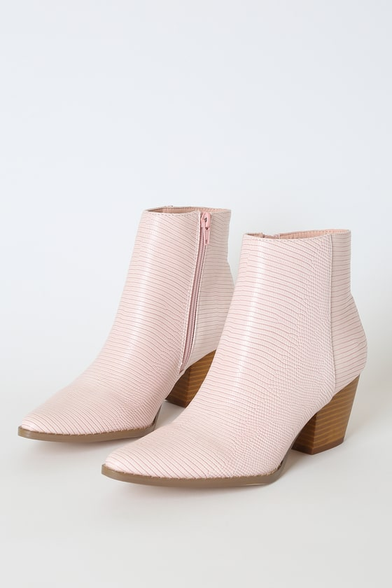 Spirit Blush Snake Pointed Toe Ankle Booties