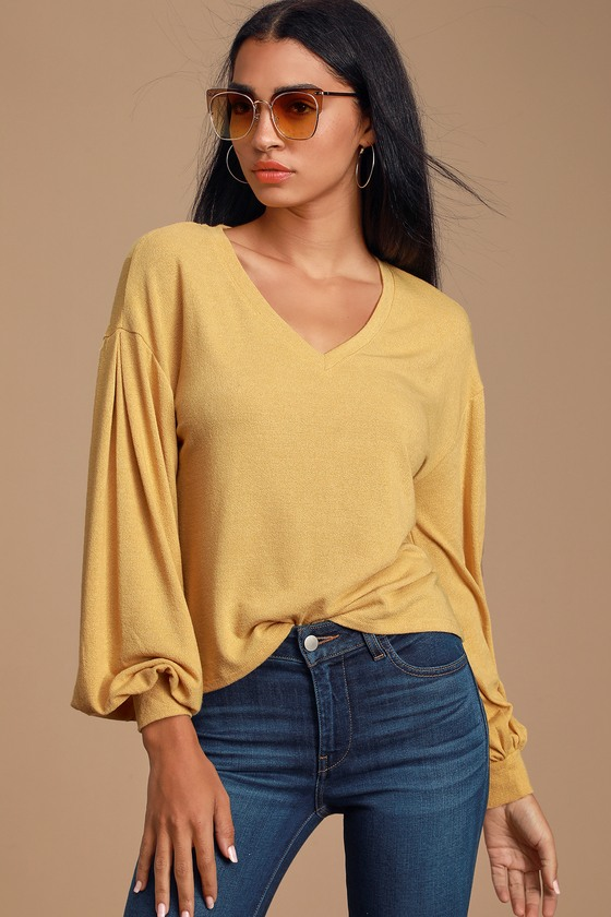 CLEAH LIGHT MUSTARD YELLOW BALLOON SLEEVE TOP - CASUAL FALL OUTFIT