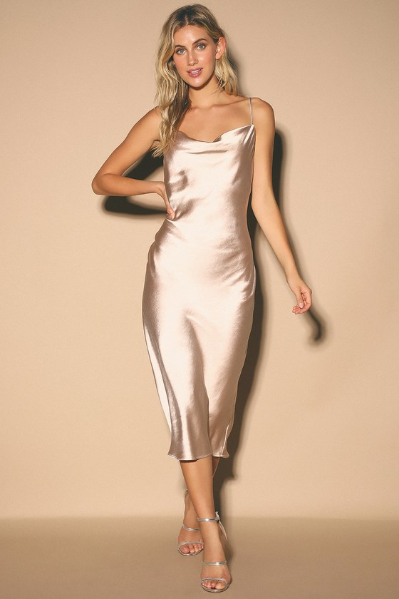 Gorgeous Satin Dress Pale Pink Slip Dress Cowl Neck Dress